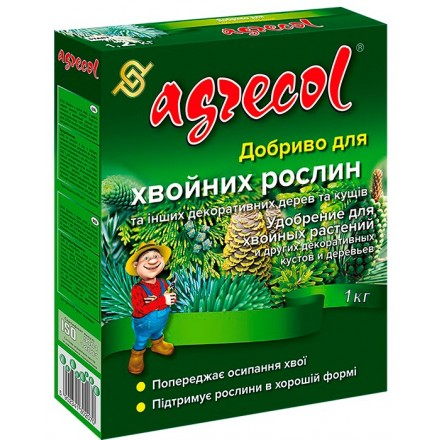 Мінеральне гранульоване добриво для хвойних рослин Agrecol, 1 кг (NPK 14.14.21)